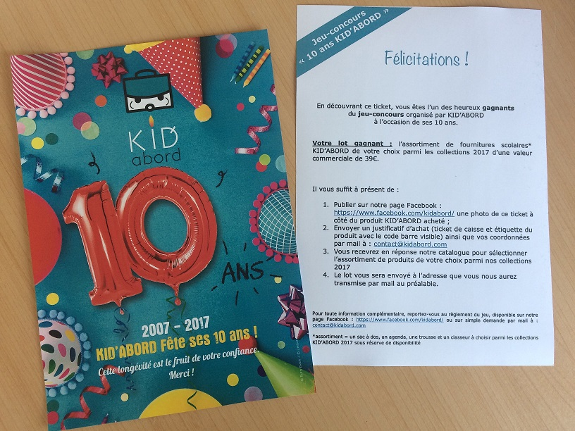 Jeu concours 10 ans KID'ABORD